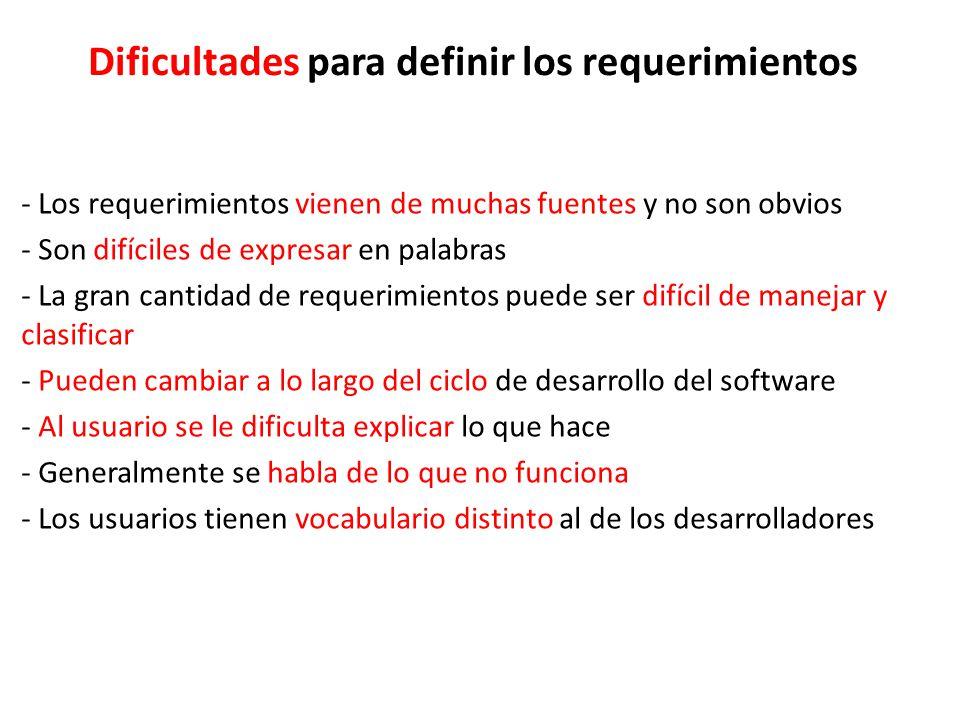 Dificultades para definir los requerimientos - Los requerimientos vienen de muchas fuentes y no son obvios - Son difíciles de expresar en palabras - La gran cantidad de requerimientos puede ser difícil de manejar y clasificar - Pueden cambiar a lo largo del ciclo de desarrollo del software - Al usuario se le dificulta explicar lo que hace - Generalmente se habla de lo que no funciona - Los usuarios tienen vocabulario distinto al de los desarrolladores