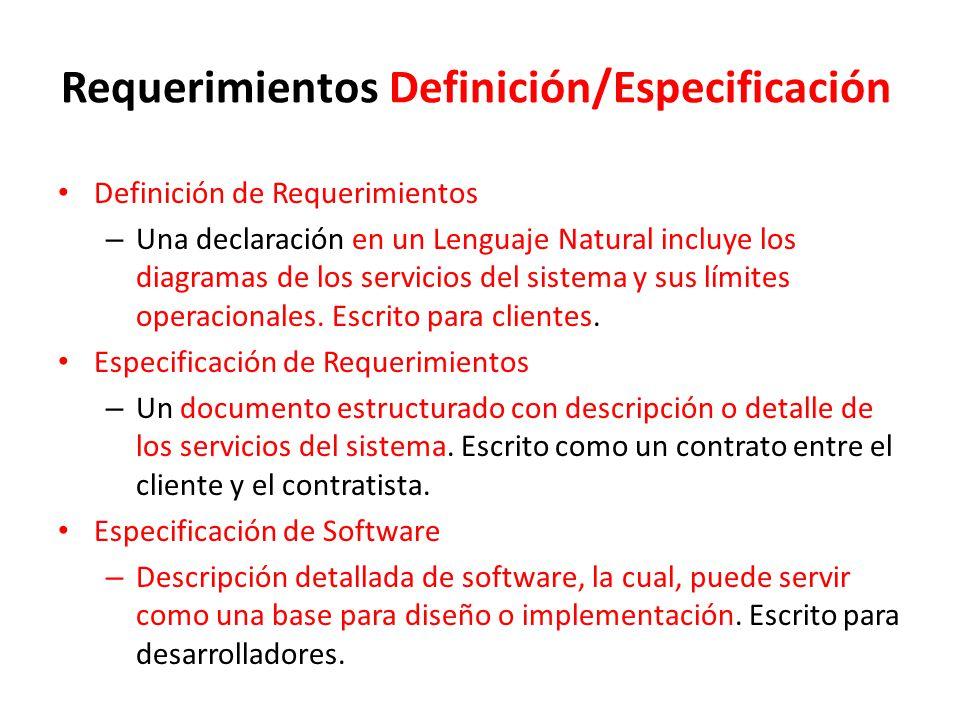Requerimientos Definición/Especificación Definición de Requerimientos – Una declaración en un Lenguaje Natural incluye los diagramas de los servicios del sistema y sus límites operacionales.