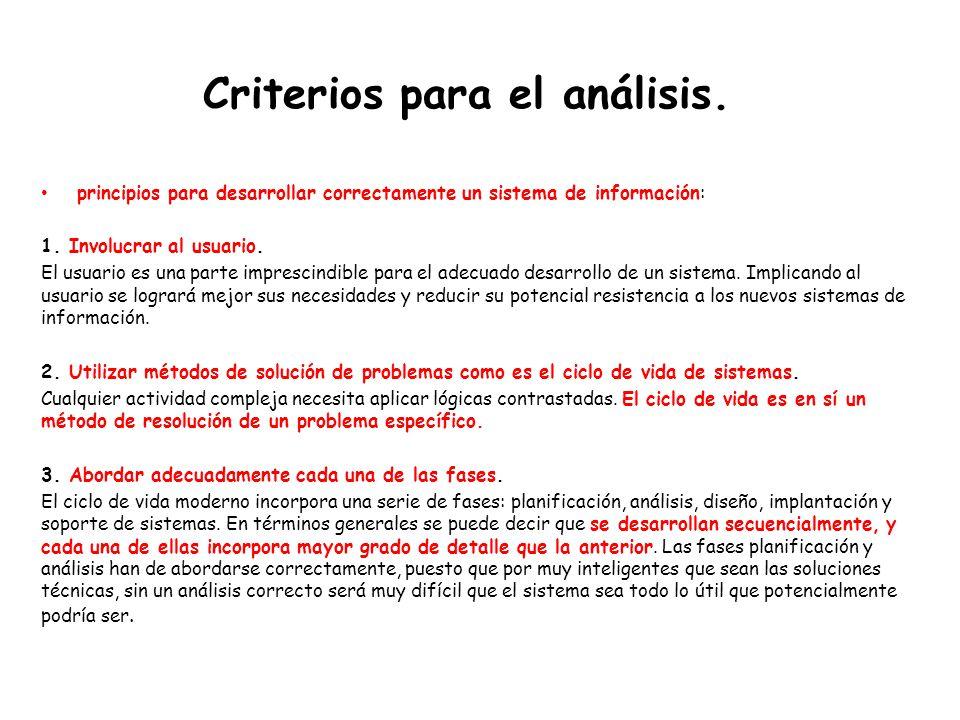 Criterios para el análisis.principios para desarrollar correctamente un sistema de información: 1.