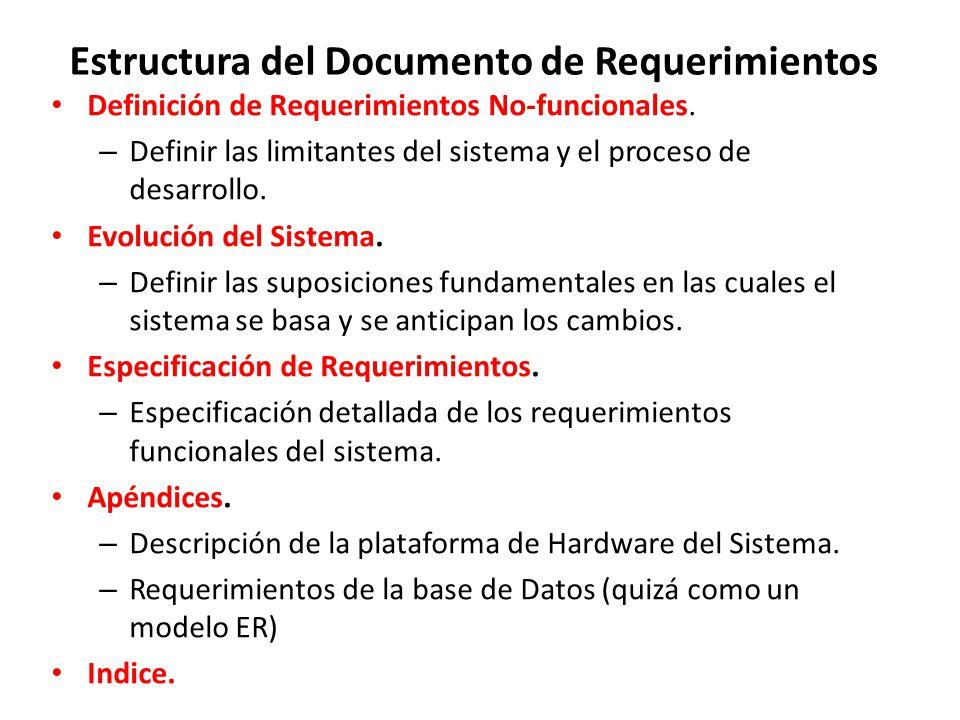 Estructura del Documento de Requerimientos Definición de Requerimientos No-funcionales.