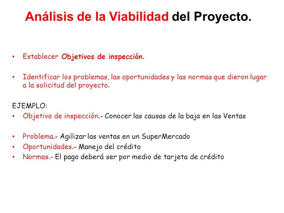 Análisis de la Viabilidad del Proyecto.Establecer Objetivos de inspección.