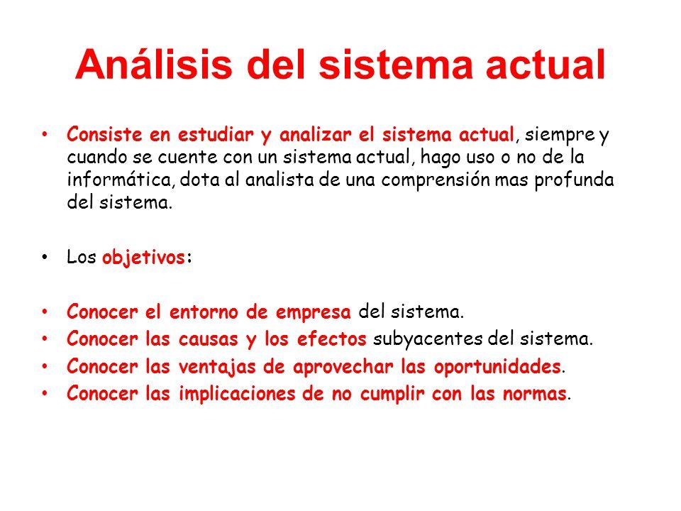 Análisis del sistema actual Consiste en estudiar y analizar el sistema actual, siempre y cuando se cuente con un sistema actual, hago uso o no de la informática, dota al analista de una comprensión mas profunda del sistema.