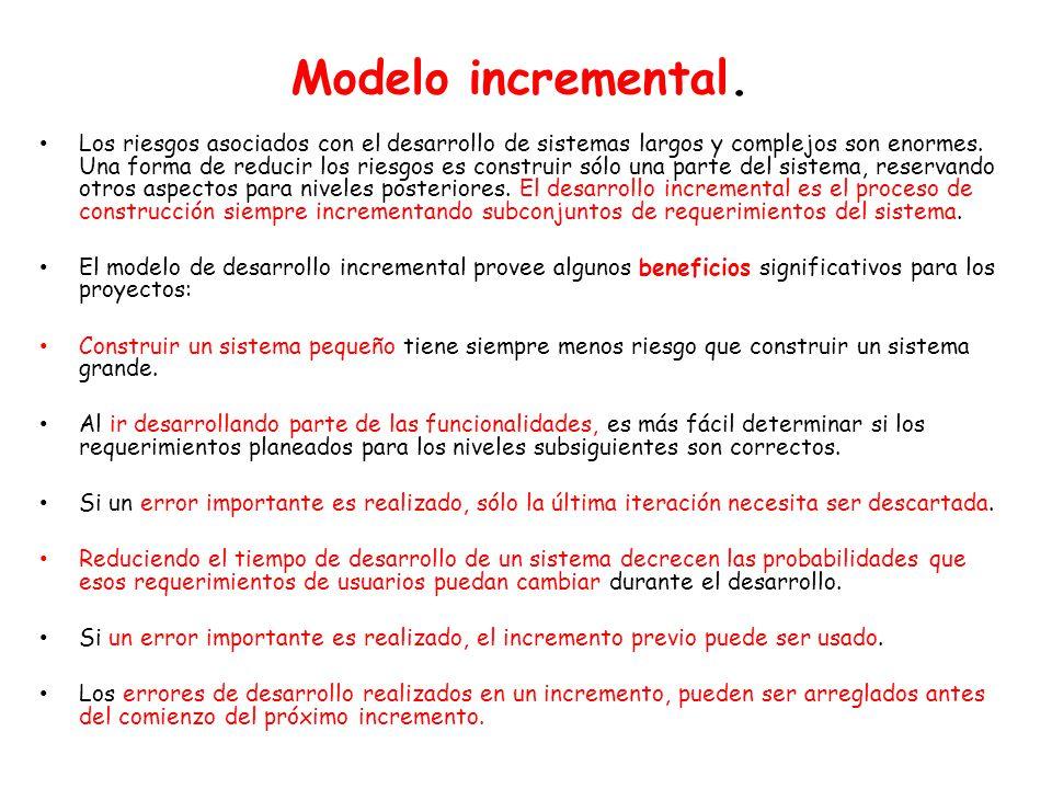 Modelo incremental. Los riesgos asociados con el desarrollo de sistemas largos y complejos son enormes. Una forma de reducir los riesgos es construir