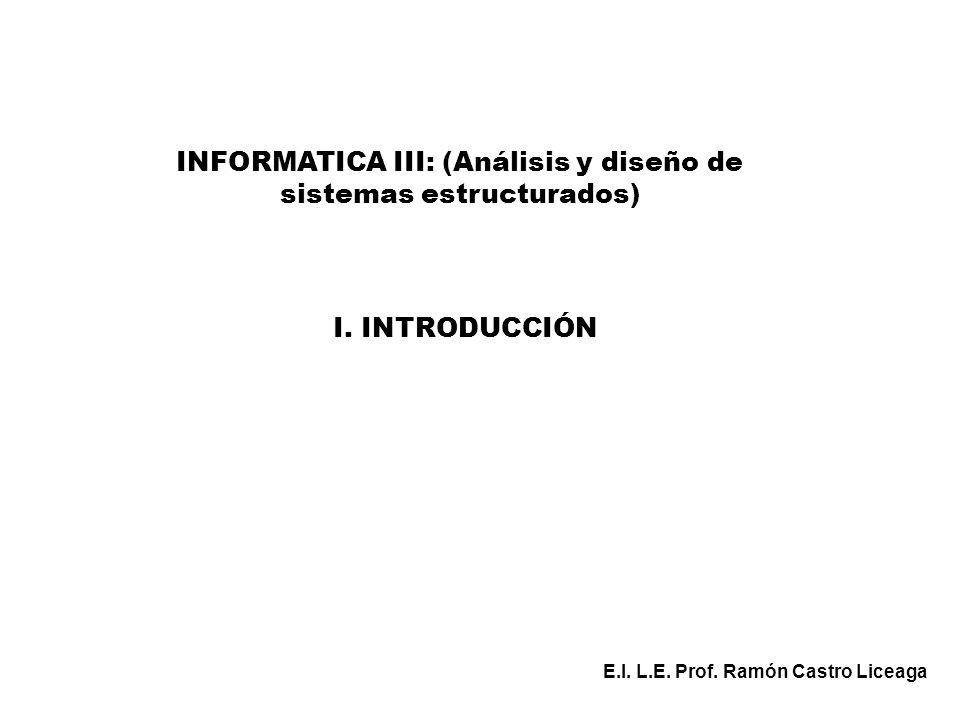 INFORMATICA III: (Análisis y diseño de sistemas estructurados) E.I. L.E. Prof. Ramón Castro Liceaga I. INTRODUCCIÓN