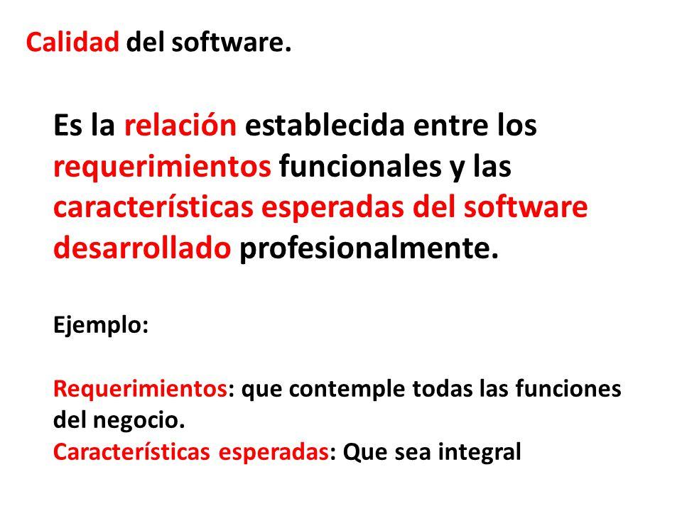Calidad del software. Es la relación establecida entre los requerimientos funcionales y las características esperadas del software desarrollado profes