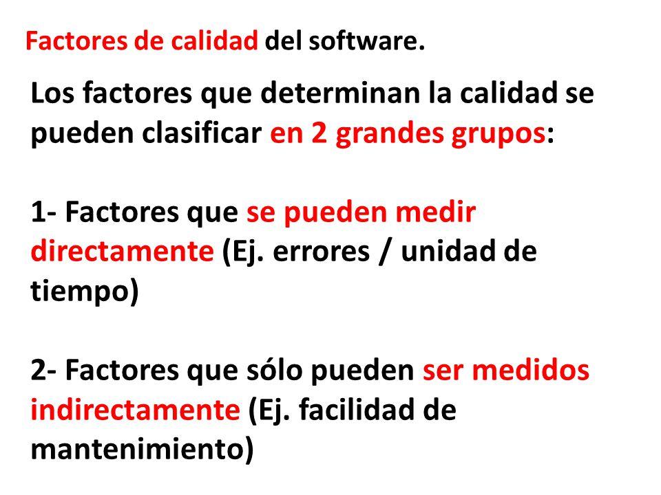 Factores de calidad del software. Los factores que determinan la calidad se pueden clasificar en 2 grandes grupos: 1- Factores que se pueden medir dir