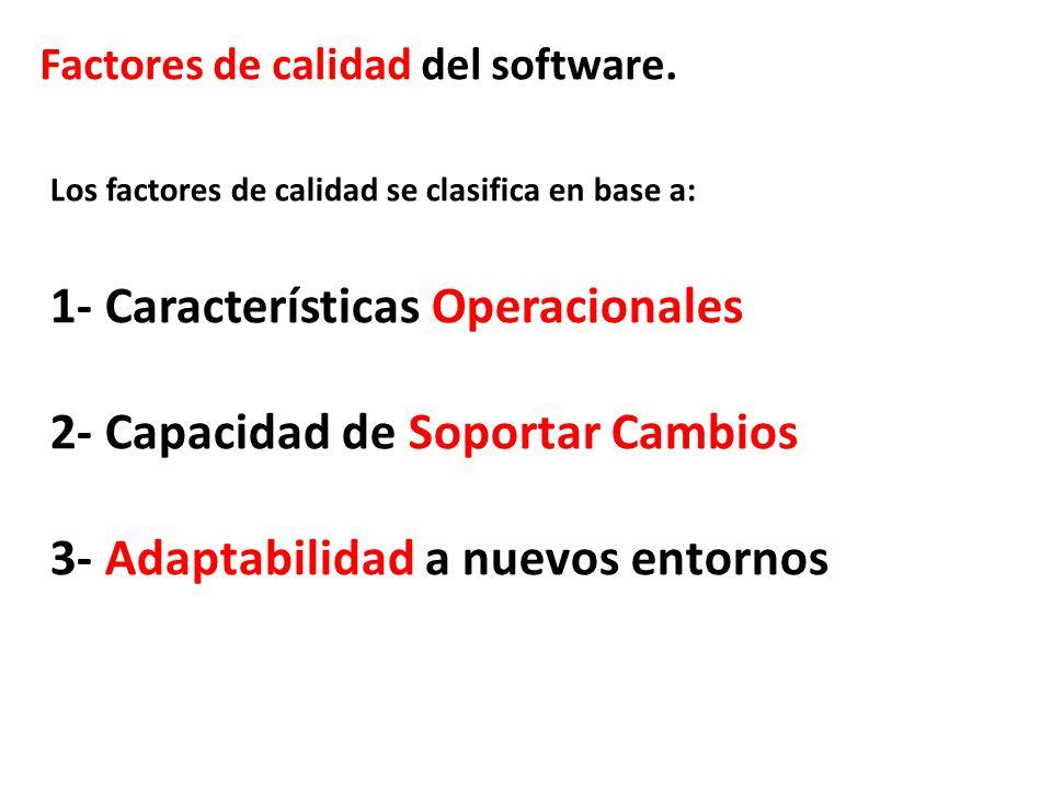 Factores de calidad del software. Los factores de calidad se clasifica en base a: 1- Características Operacionales 2- Capacidad de Soportar Cambios 3-