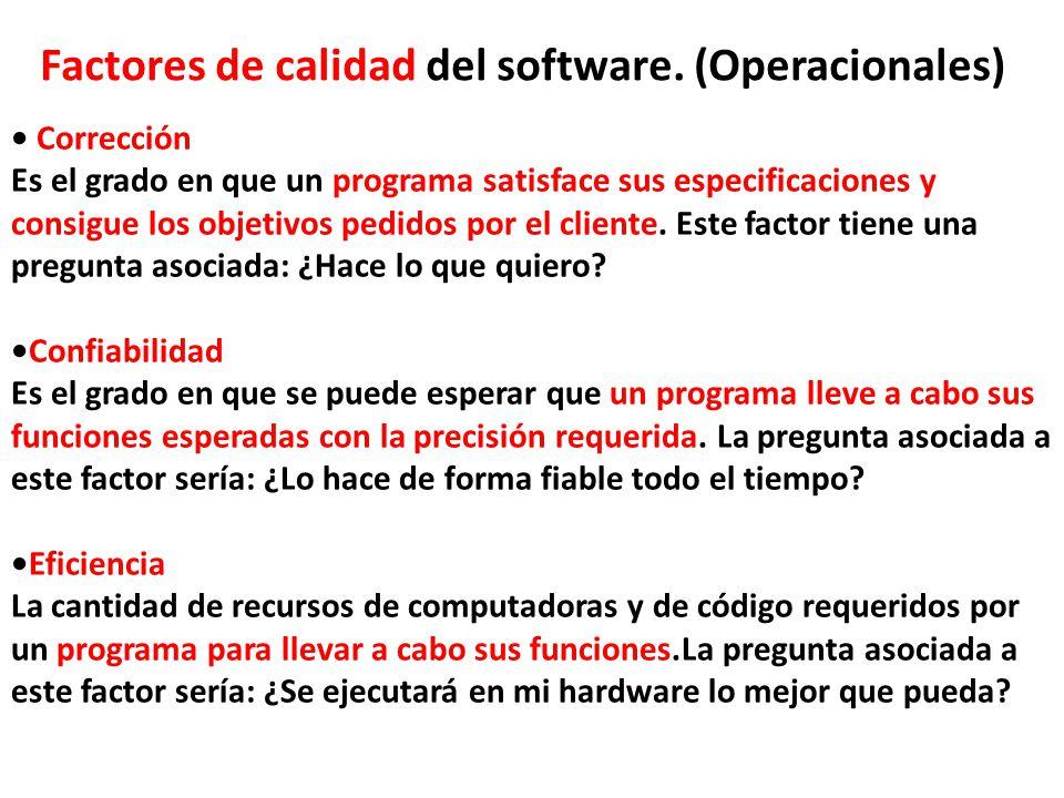 Factores de calidad del software. (Operacionales) Corrección Es el grado en que un programa satisface sus especificaciones y consigue los objetivos pe