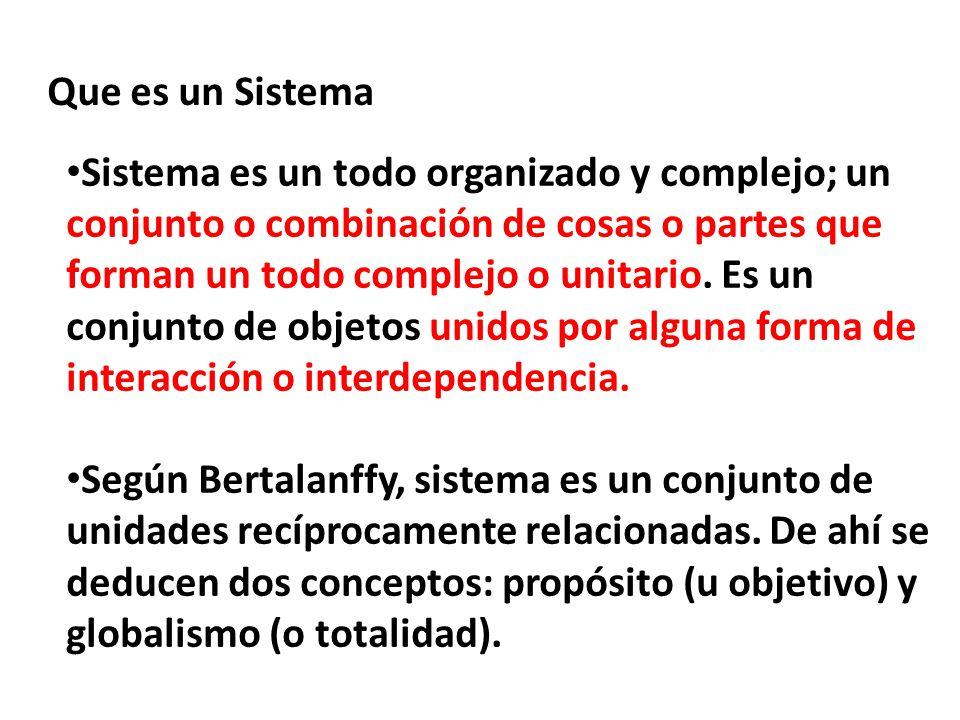 Que es un Sistema Sistema es un todo organizado y complejo; un conjunto o combinación de cosas o partes que forman un todo complejo o unitario. Es un