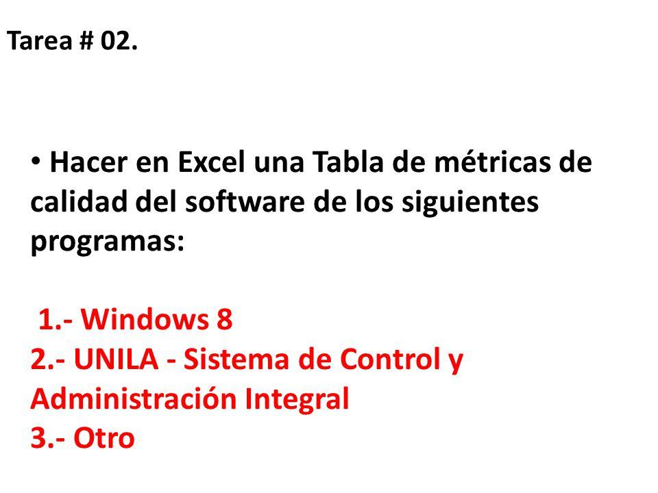 Tarea # 02. Hacer en Excel una Tabla de métricas de calidad del software de los siguientes programas: 1.- Windows 8 2.- UNILA - Sistema de Control y A