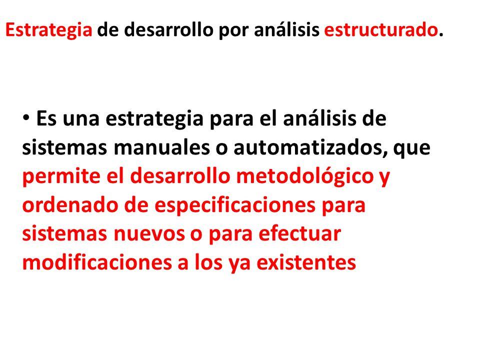 Estrategia de desarrollo por análisis estructurado. Es una estrategia para el análisis de sistemas manuales o automatizados, que permite el desarrollo