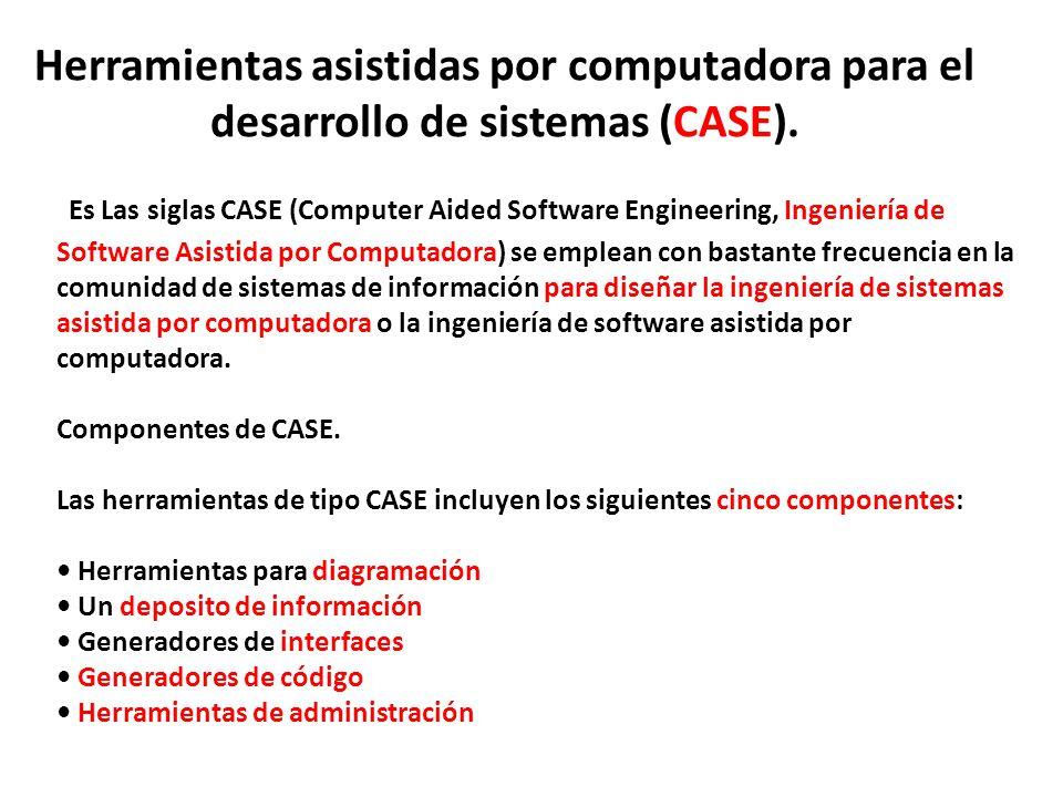 Herramientas asistidas por computadora para el desarrollo de sistemas (CASE). Es Las siglas CASE (Computer Aided Software Engineering, Ingeniería de S