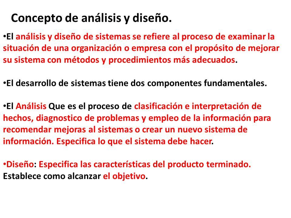Concepto de análisis y diseño. El análisis y diseño de sistemas se refiere al proceso de examinar la situación de una organización o empresa con el pr