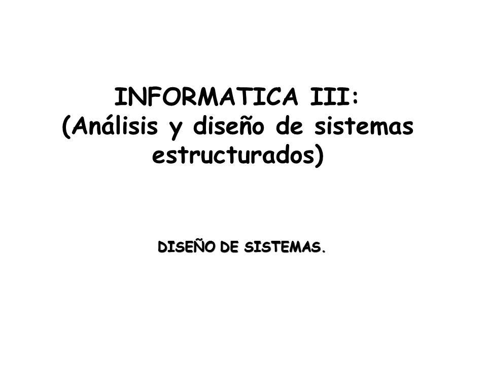 INFORMATICA III: (Análisis y diseño de sistemas estructurados) DISEÑO DE SISTEMAS.