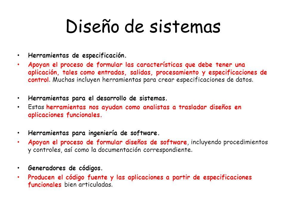 Diseño de sistemas Herramientas de especificación.