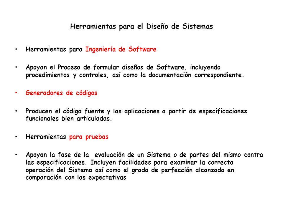 Herramientas para el Diseño de Sistemas Herramientas para Ingeniería de Software Apoyan el Proceso de formular diseños de Software, incluyendo procedimientos y controles, así como la documentación correspondiente.