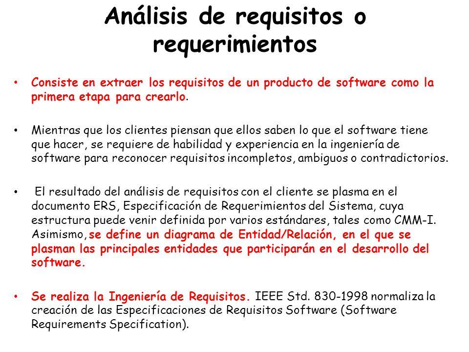Análisis de requisitos o requerimientos Consiste en extraer los requisitos de un producto de software como la primera etapa para crearlo.