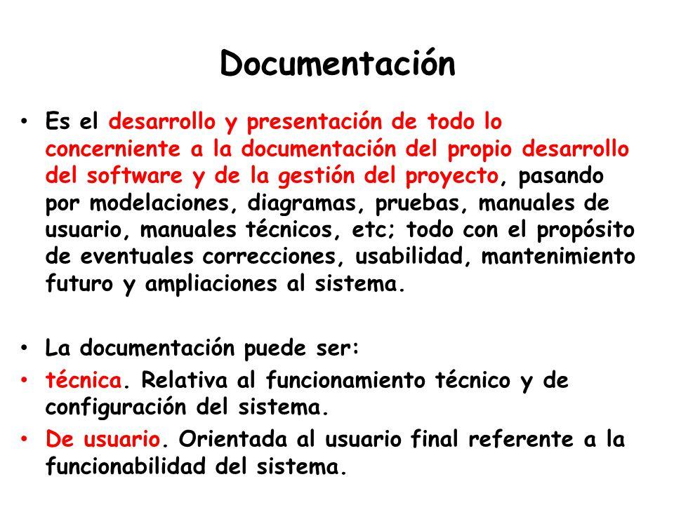 Documentación Es el desarrollo y presentación de todo lo concerniente a la documentación del propio desarrollo del software y de la gestión del proyecto, pasando por modelaciones, diagramas, pruebas, manuales de usuario, manuales técnicos, etc; todo con el propósito de eventuales correcciones, usabilidad, mantenimiento futuro y ampliaciones al sistema.