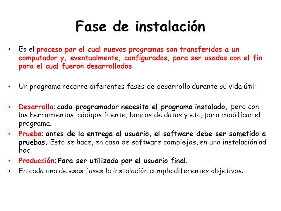 Fase de instalación Es el proceso por el cual nuevos programas son transferidos a un computador y, eventualmente, configurados, para ser usados con el fin para el cual fueron desarrollados.