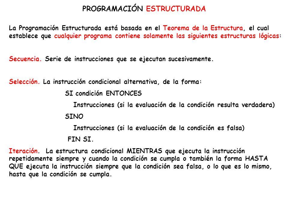 PROGRAMACIÓN ESTRUCTURADA La Programación Estructurada está basada en el Teorema de la Estructura, el cual establece que cualquier programa contiene s