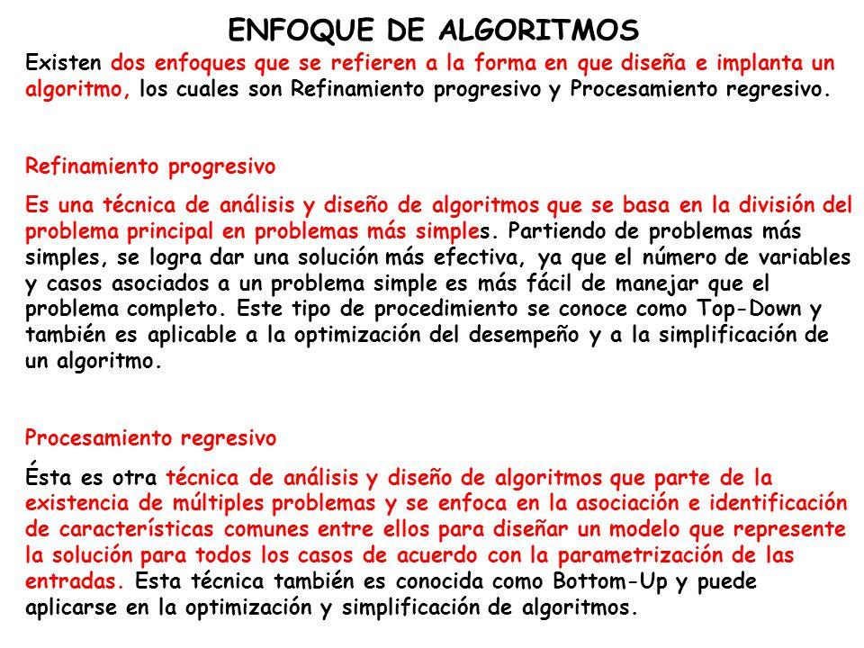 ENFOQUE DE ALGORITMOS Existen dos enfoques que se refieren a la forma en que diseña e implanta un algoritmo, los cuales son Refinamiento progresivo y