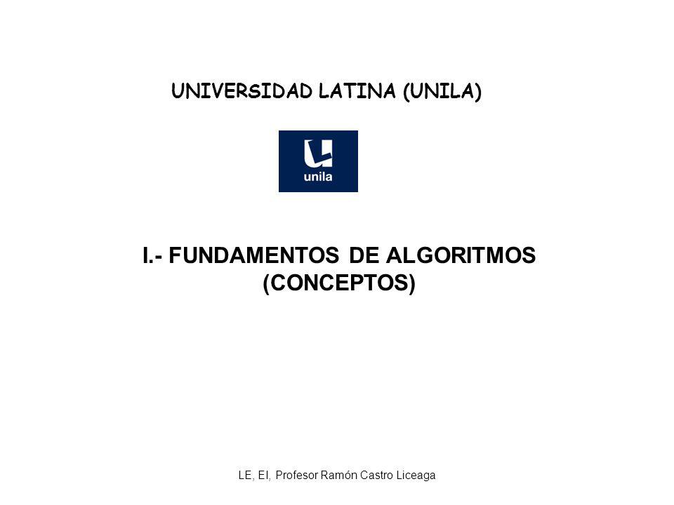 LE, EI, Profesor Ramón Castro Liceaga UNIVERSIDAD LATINA (UNILA) I.- FUNDAMENTOS DE ALGORITMOS (CONCEPTOS)