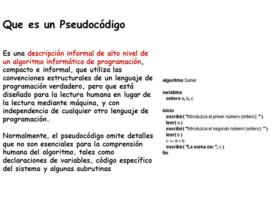 Que es un Pseudocódigo Es una descripción informal de alto nivel de un algoritmo informático de programación, compacto e informal, que utiliza las con