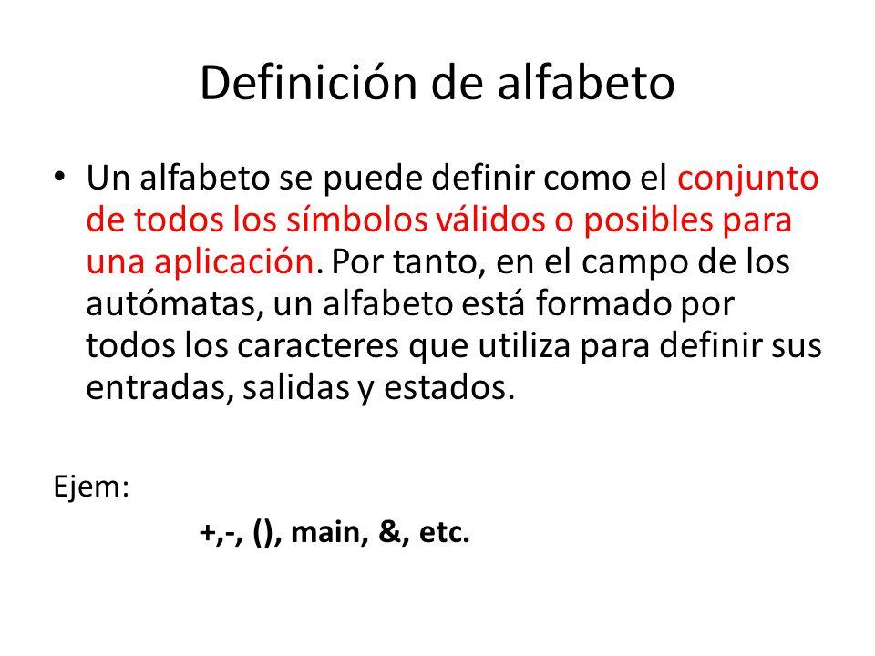 Definición de alfabeto Un alfabeto se puede definir como el conjunto de todos los símbolos válidos o posibles para una aplicación. Por tanto, en el ca