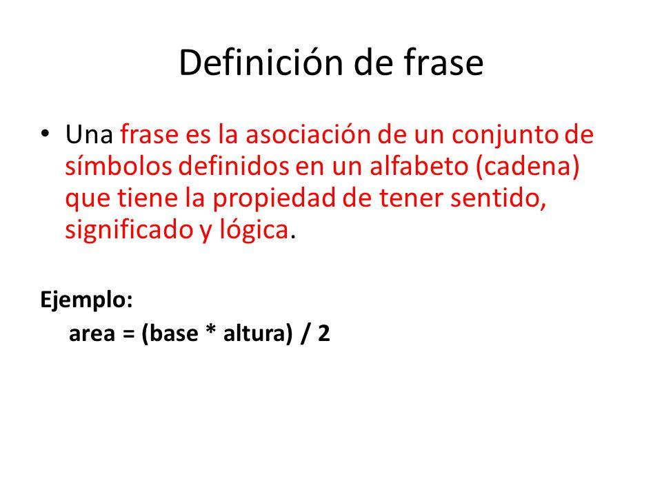 Definición de frase Una frase es la asociación de un conjunto de símbolos definidos en un alfabeto (cadena) que tiene la propiedad de tener sentido, s