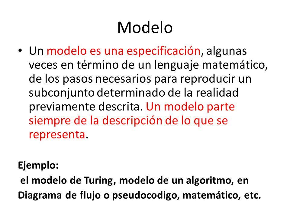 Modelo Un modelo es una especificación, algunas veces en término de un lenguaje matemático, de los pasos necesarios para reproducir un subconjunto det
