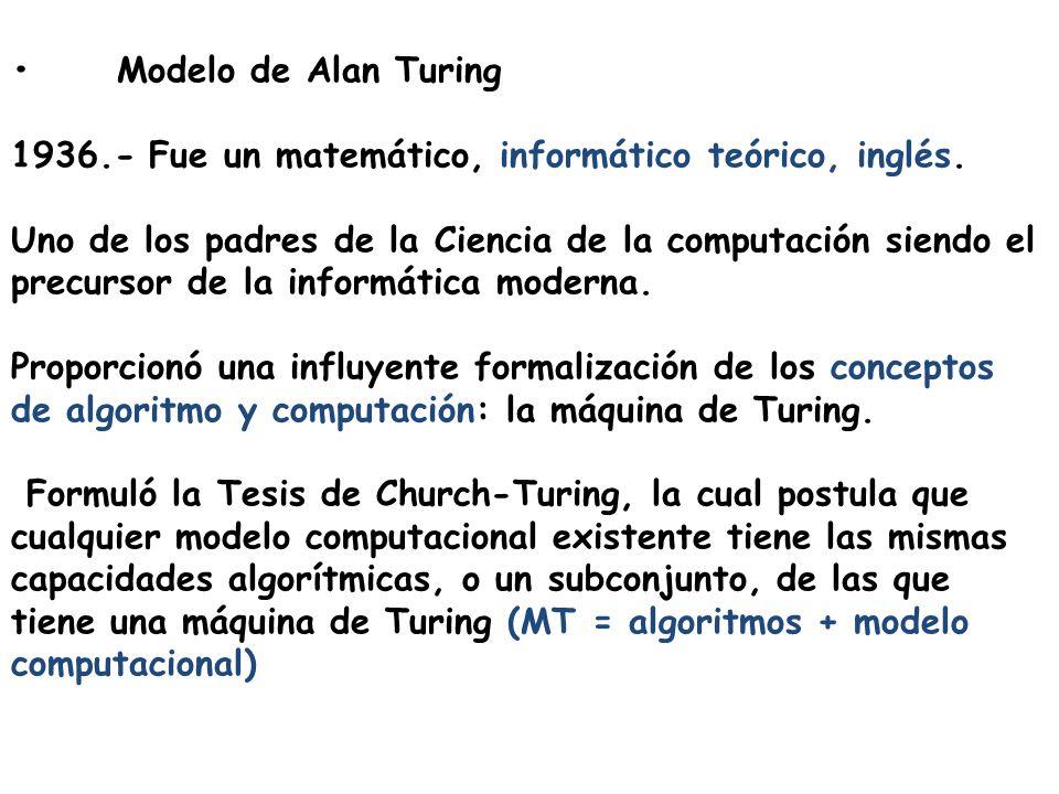 Modelo de Alan Turing 1936.- Fue un matemático, informático teórico, inglés. Uno de los padres de la Ciencia de la computación siendo el precursor de