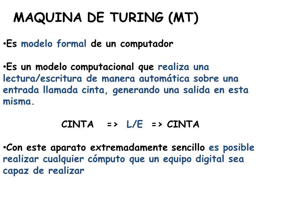 MAQUINA DE TURING (MT) Es modelo formal de un computador Es un modelo computacional que realiza una lectura/escritura de manera automática sobre una e