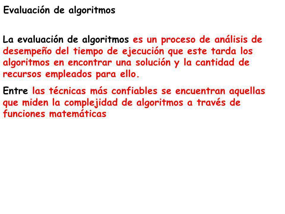 Evaluación de algoritmos La evaluación de algoritmos es un proceso de análisis de desempeño del tiempo de ejecución que este tarda los algoritmos en e