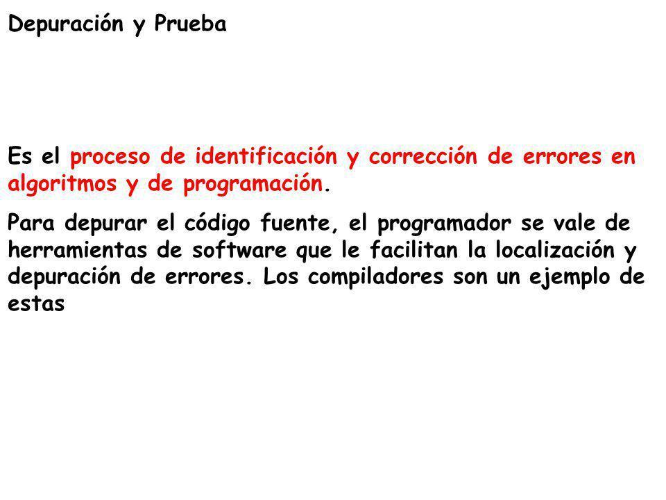 Depuración y Prueba Es el proceso de identificación y corrección de errores en algoritmos y de programación. Para depurar el código fuente, el program