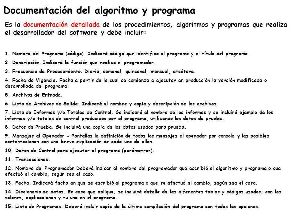 Documentación del algoritmo y programa Es la documentación detallada de los procedimientos, algoritmos y programas que realiza el desarrollador del so