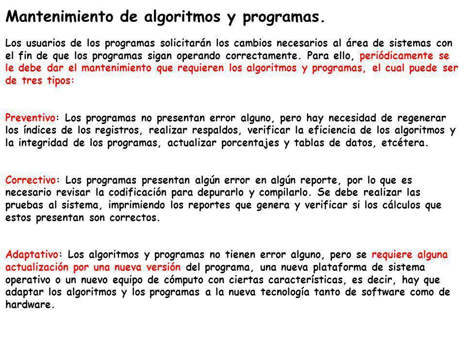 Mantenimiento de algoritmos y programas. Los usuarios de los programas solicitarán los cambios necesarios al área de sistemas con el fin de que los pr
