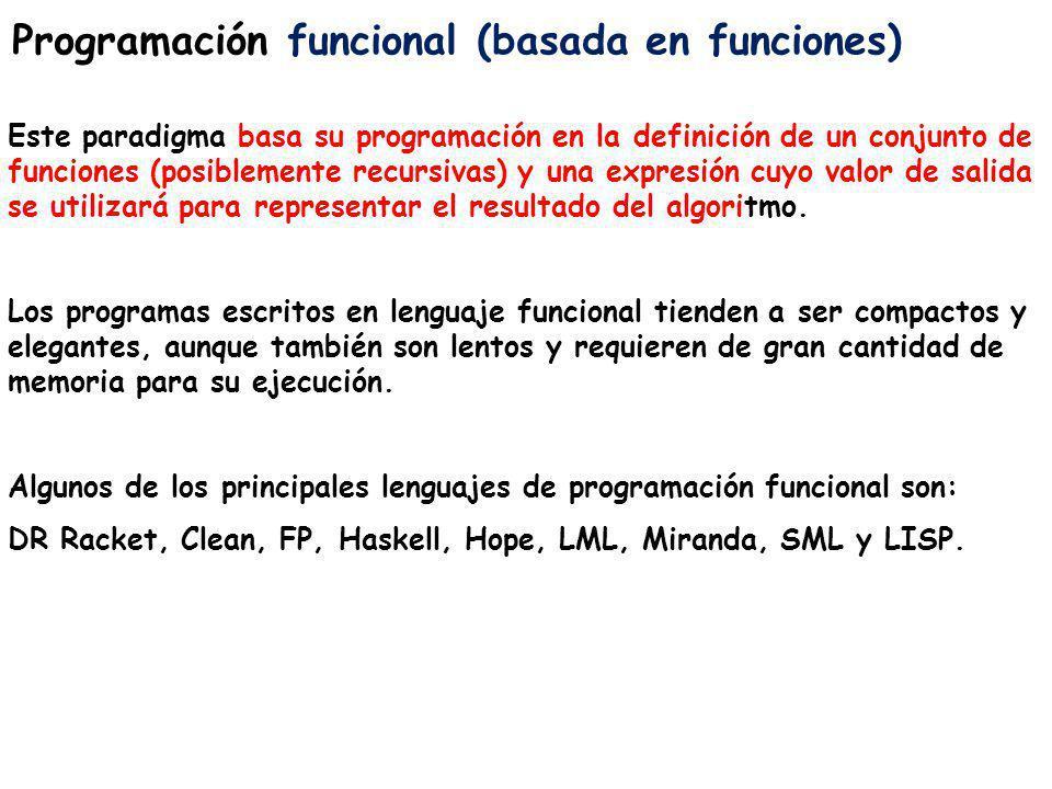 Programación funcional (basada en funciones) Este paradigma basa su programación en la definición de un conjunto de funciones (posiblemente recursivas