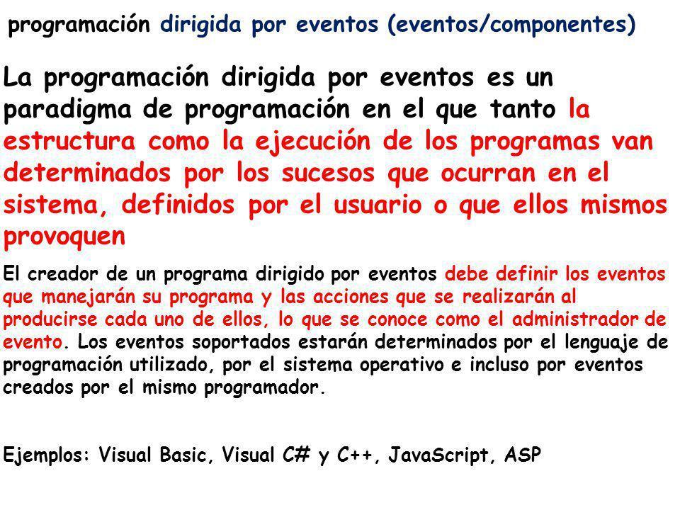 programación dirigida por eventos (eventos/componentes) La programación dirigida por eventos es un paradigma de programación en el que tanto la estruc