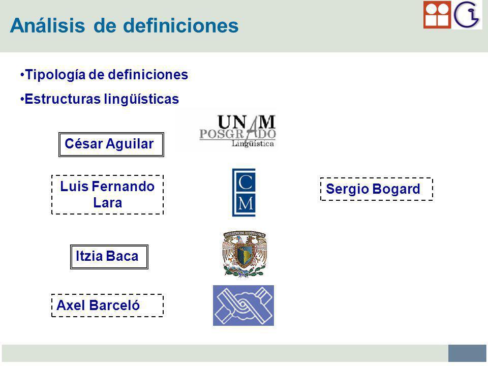 Análisis de definiciones Tipología de definiciones Estructuras lingüísticas César Aguilar Itzia Baca Luis Fernando Lara Sergio Bogard Axel Barceló