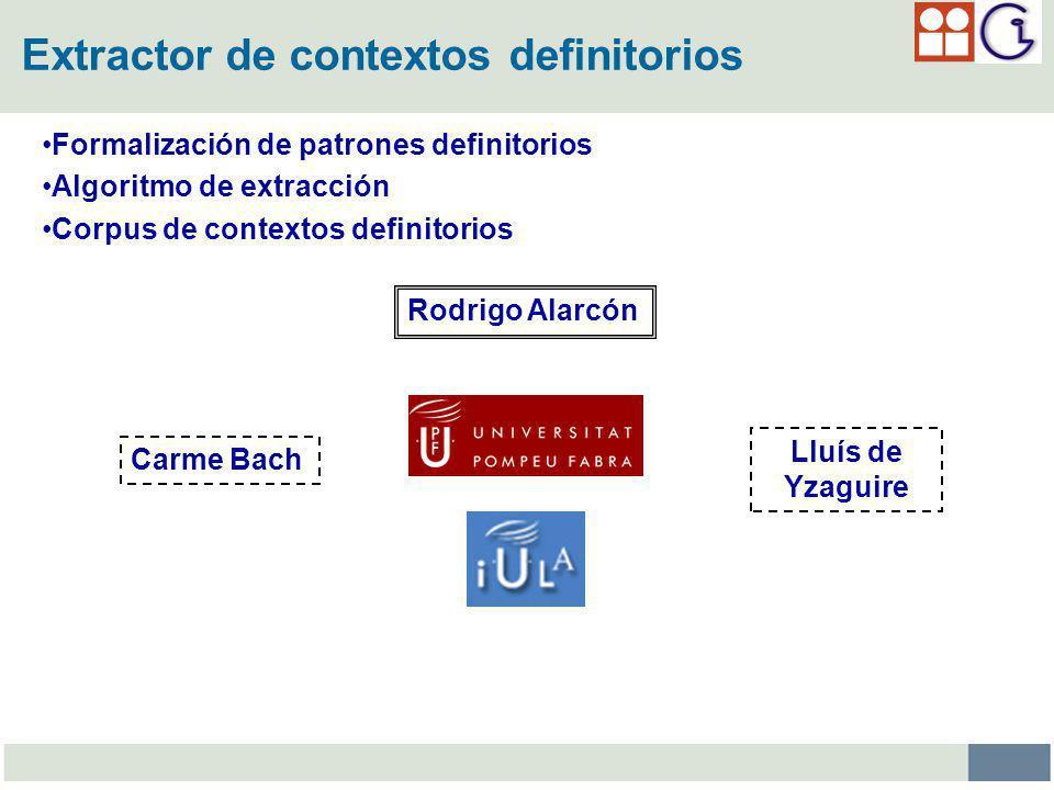 Extractor de contextos definitorios Formalización de patrones definitorios Algoritmo de extracción Corpus de contextos definitorios Rodrigo Alarcón Carme Bach Lluís de Yzaguire