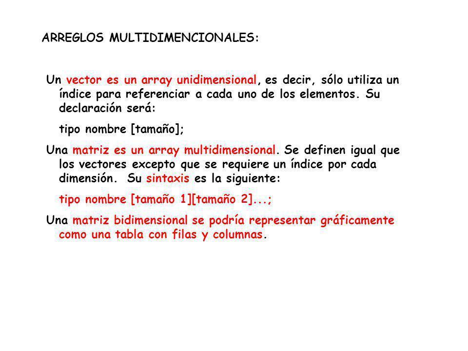 ARREGLOS MULTIDIMENCIONALES: Un vector es un array unidimensional, es decir, sólo utiliza un índice para referenciar a cada uno de los elementos. Su d