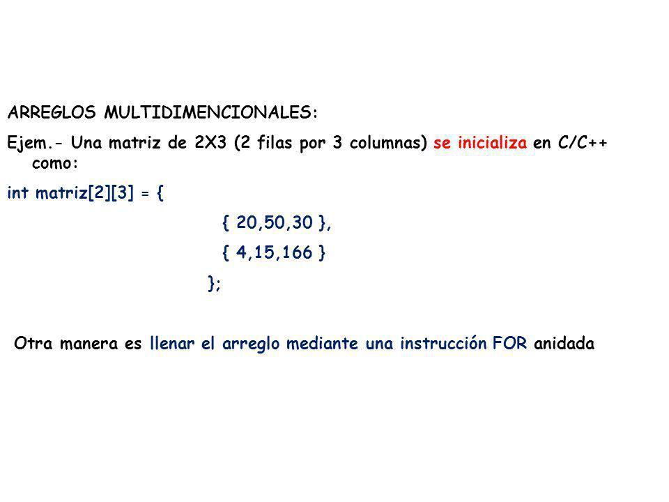 ARREGLOS MULTIDIMENCIONALES: Ejem.- Una matriz de 2X3 (2 filas por 3 columnas) se inicializa en C/C++ como: int matriz[2][3] = { { 20,50,30 }, { 4,15,