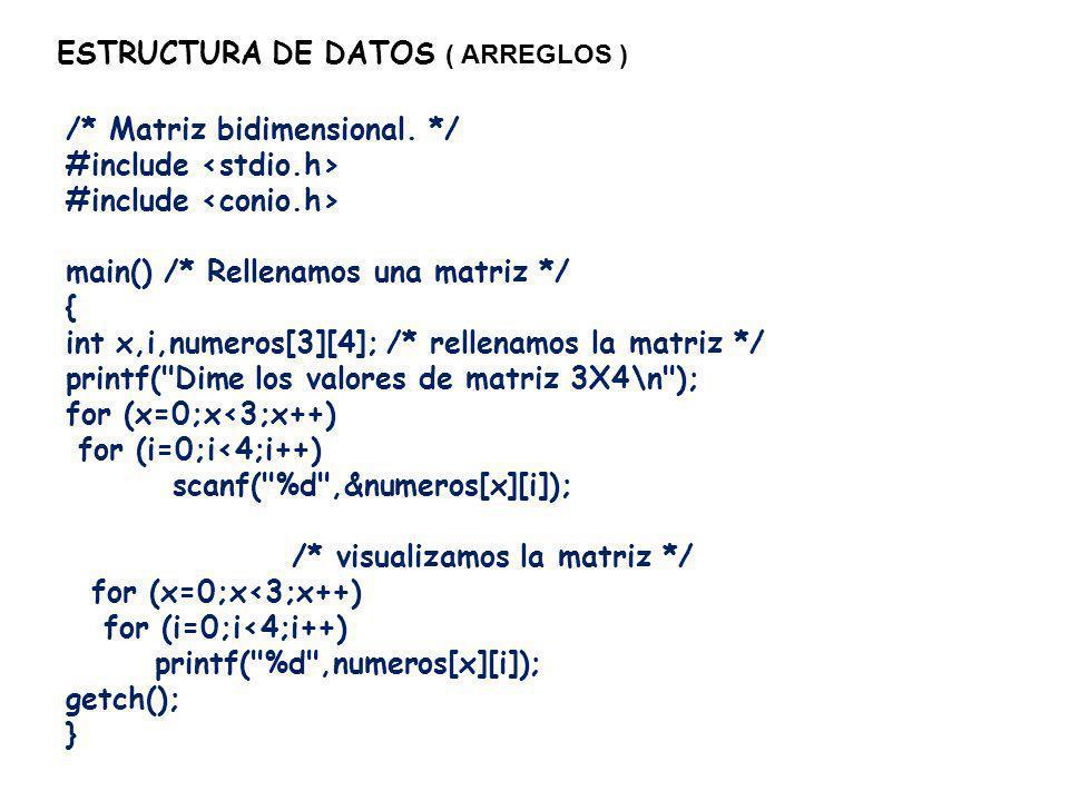 ESTRUCTURA DE DATOS ( ARREGLOS ) int numeros[3][4]={1,2,3,4,5,6,7,8,9,10,11,12}; quedarían asignados de la siguiente manera: numeros[0][0]=1 numeros[0][1]=2 numeros[0][2]=3 numeros[0][3]=4 numeros[1][0]=5 numeros[1][1]=6 numeros[1][2]=7 numeros[1][3]=8 numeros[2][0]=9 numeros[2][1]=10 numeros[2][2]=11 numeros[2][3]=12