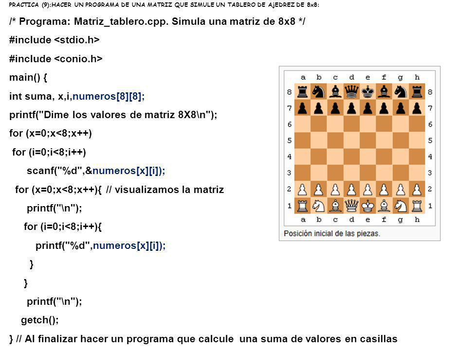 PRACTICA (9):HACER UN PROGRAMA DE UNA MATRIZ QUE SIMULE UN TABLERO DE AjEDREZ DE 8x8: /* Programa: Matriz_tablero.cpp. Simula una matriz de 8x8 */ #in