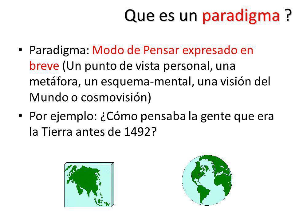 Que es un paradigma ? Paradigma: Modo de Pensar expresado en breve (Un punto de vista personal, una metáfora, un esquema-mental, una visión del Mundo