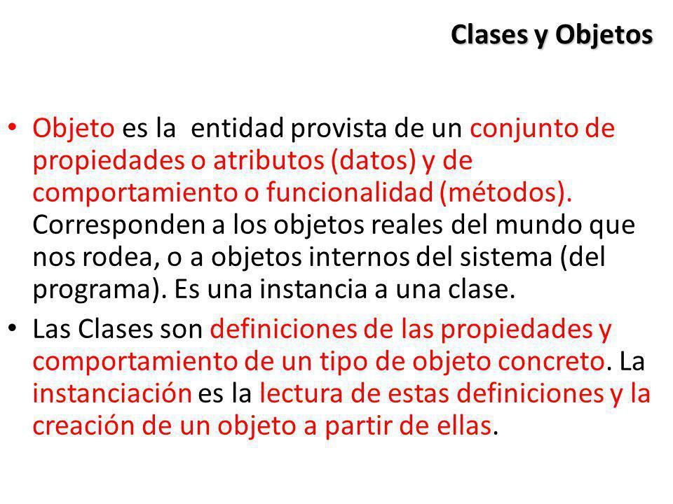 Clases y Objetos Objeto es la entidad provista de un conjunto de propiedades o atributos (datos) y de comportamiento o funcionalidad (métodos). Corres
