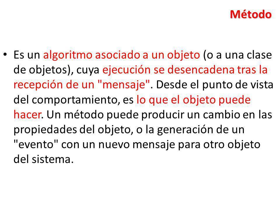 Método Es un algoritmo asociado a un objeto (o a una clase de objetos), cuya ejecución se desencadena tras la recepción de un
