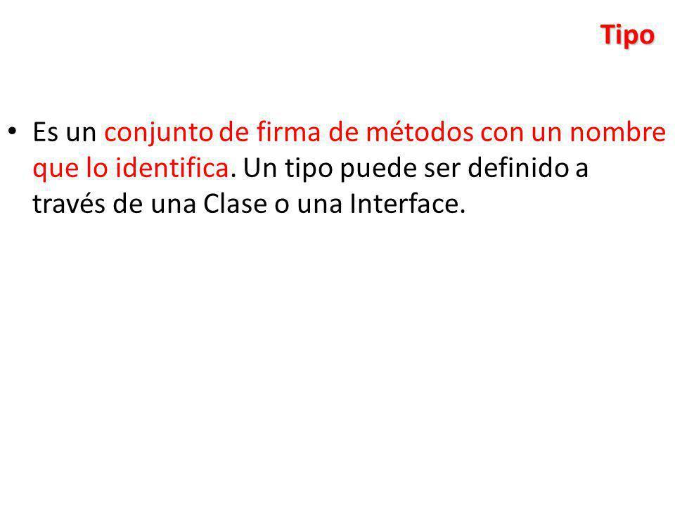Tipo Es un conjunto de firma de métodos con un nombre que lo identifica. Un tipo puede ser definido a través de una Clase o una Interface.