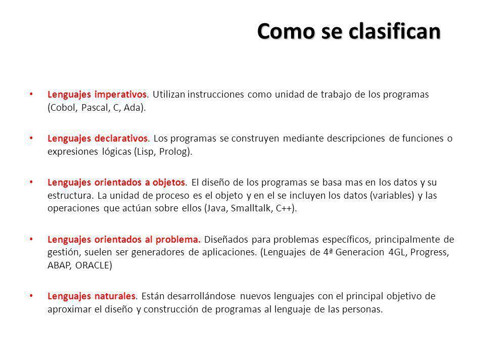 Como se clasifican Lenguajes imperativos. Utilizan instrucciones como unidad de trabajo de los programas (Cobol, Pascal, C, Ada). Lenguajes declarativ