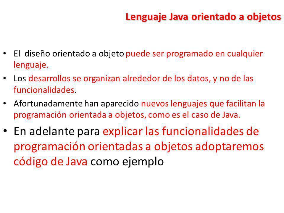 Lenguaje Java orientado a objetos El diseño orientado a objeto puede ser programado en cualquier lenguaje. Los desarrollos se organizan alrededor de l